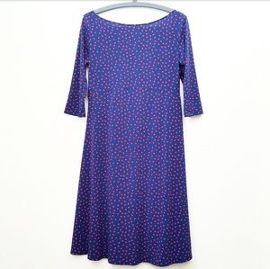 Leota Blue W/Red Polka Dot 3/4 Sleeve Dress